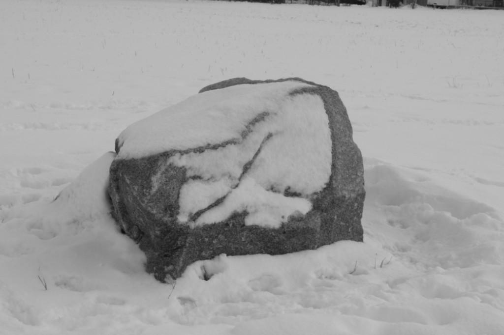 Fels im Schnee als Schwarz-Weiß-Bild